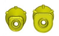 The CP203-B Nozzle Body original design (left) and the enhanced 2015 design (right)
