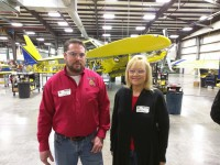 John Farris (l) and Regina Farmer (r) with Chem-Man by Datasmart were one of the sponsors of the Air Tractor Fly-In